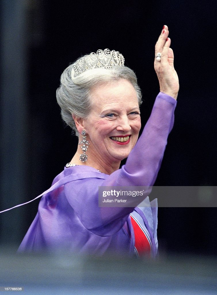 Queen Margrethe Attends The Wedding Of Crown Prince Haakon Of Norway & Mette-Marit In Oslo.