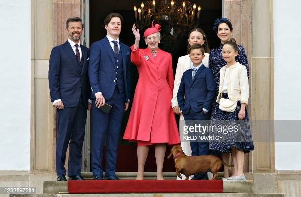 Queen Margrethe, Crown Prince Frederik, Crown Princess Mary, Prince Christian, Princess Isabella, Princess Josephine and Prince Vincent arrive for...