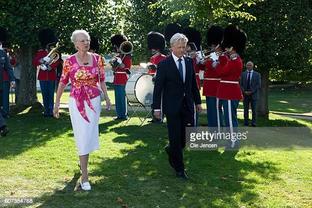 Queen Margrethe followed by Michael Ehrenreich, Lord Chamberlain, arrives to the Queen's inauguration reception for her 75 years birthday gift, a...