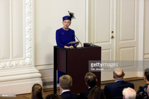 Queen Margrethe holds a speech during the Parliament's celebration ceremony on the occasion of the Reformation's 500 years anniversary on October 31...