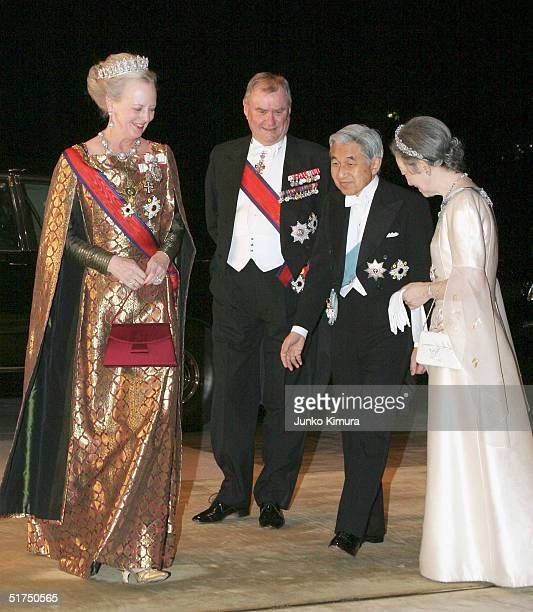Queen Margrethe II and Prince Consort Henrik of Denmark arrive at the Imperial Palace as Emperor Akihito and Empress Michiko welcome them for a...