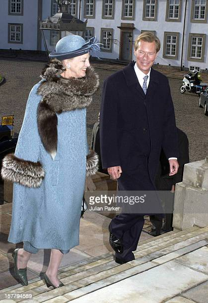 Queen Margrethe Ii Attends The Arrival At Fredensborg Palace During The State Visit To Denmark Of Grand Duke Henri Grand Duchess Maria Theresa Of...