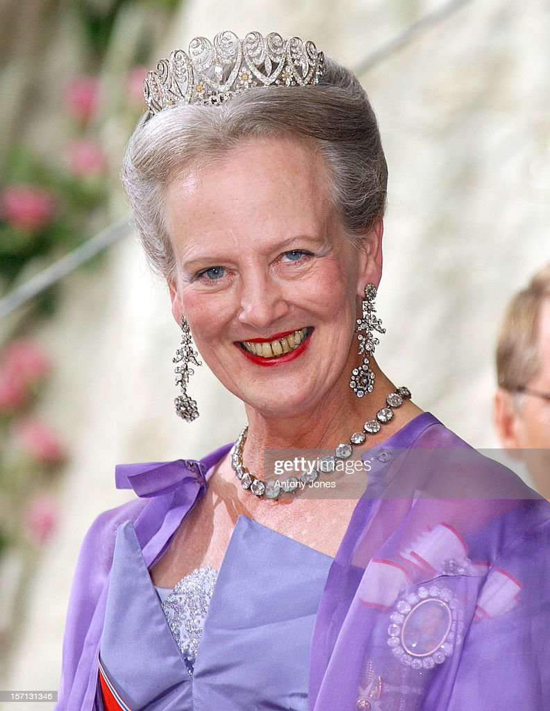 Queen Margrethe Ii Attends The Wedding Of Crown Prince Haakon Of Norway & Mette-Marit In Oslo.