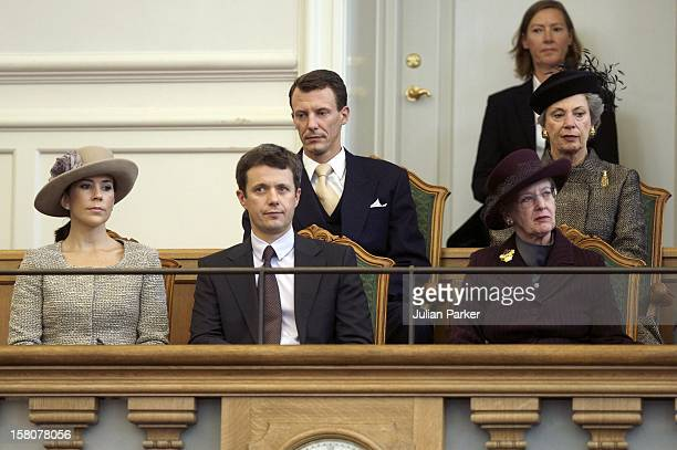 Queen Margrethe Ii Crown Prince Frederik Crown Princess Mary Prince Joachim And Princess Benedikte Of Denmark Attend The Opening Of The Danish...
