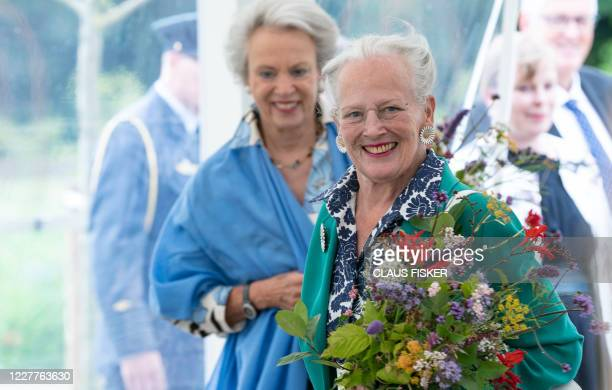 Queen Margrethe II of Denmark and and Princess Benedicte open the royal kitchen garden at Graasten Castle in Southern Jutland, July 24, 2020. - The...