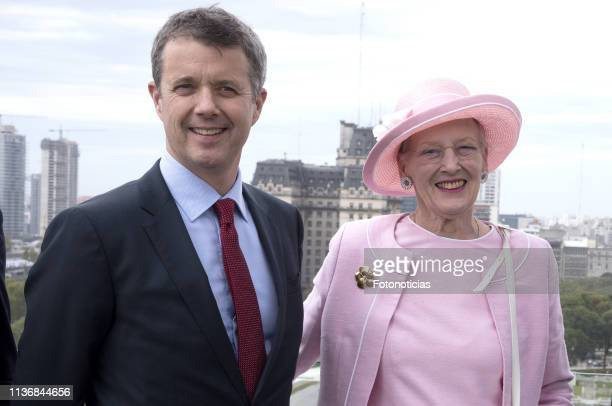Queen Margrethe II of Denmark and Crown Prince Frederik of Denmark pose for photographers during a Business Seminar at Kirchner Cultural Centre on...