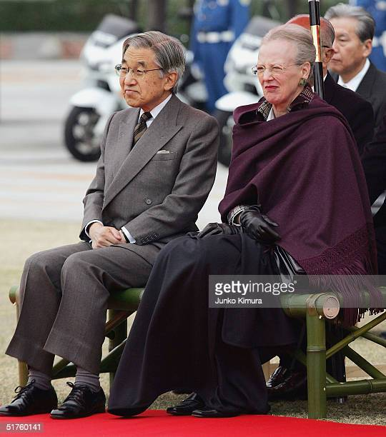 Queen Margrethe II of Denmark and Emperor Akihito of Japan watch local people peforming Japanese dance at Gunma prefectural office on November 18...