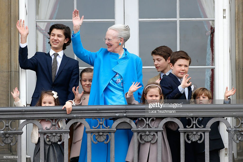 Queen Margrethe II of Denmark and her grandchildren Princess Josephine of Denmark, Princess Isabella of Denmark, Prince Vincent of Denmark, Prince Christian of Denmark, Prince Nikolai of Denmark, Prince Felix of Denmark, Princess Athena of Denmark and Prince Henrik of Denmark attend the celebrations of her Majesty's 76th birthday at Amalienborg Royal Palace on April 16, 2016 in Copenhagen, Denmark.