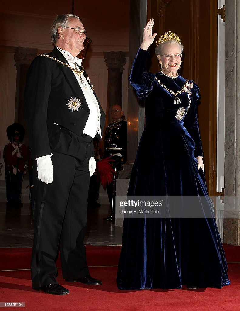 Queen Margrethe II of Denmark and Prince Consort Henrik of Denmark arrives at a New Year's Banquet hosted by Queen Margrethe of Denmark at Christian VII's Palace on January 1, 2013 in Copenhagen, Denmark.