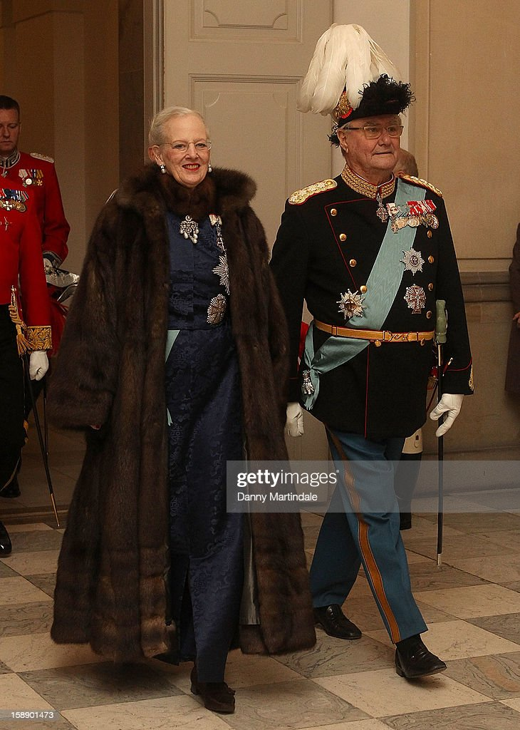 Queen Margrethe II of Denmark and Prince Consort Henrik of Denmark attends New Year's Levee held by Queen Margrethe of Denmark at Christian VII's Palace on January 3, 2013 in Copenhagen, Denmark.