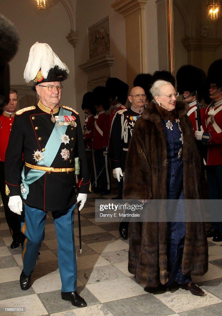 Queen Margrethe II of Denmark and Prince Consort Henrik of Denmark attend New Year's Levee held by Queen Margrethe of Denmark at Christian VII's Palace on January 3, 2013 in Copenhagen, Denmark.