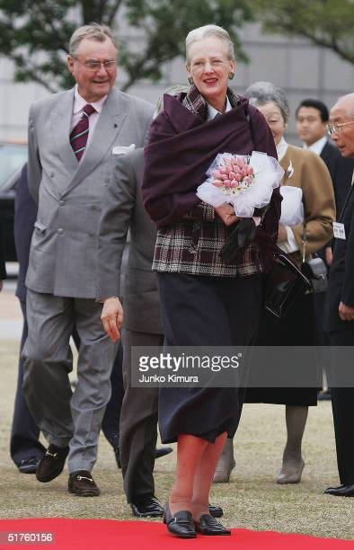 Queen Margrethe II of Denmark and Prince Consort Henrik of Denmark arrives at an event space of Gunma prefectural office to watch local people...