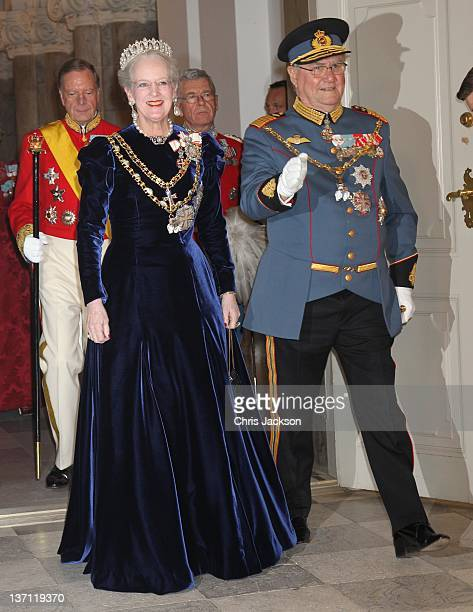 Queen Margrethe II of Denmark and Prince Henrik of Denmark attend a Gala Dinner to celebrate Queen Margrethe II of Denmark's 40 years on the throne...