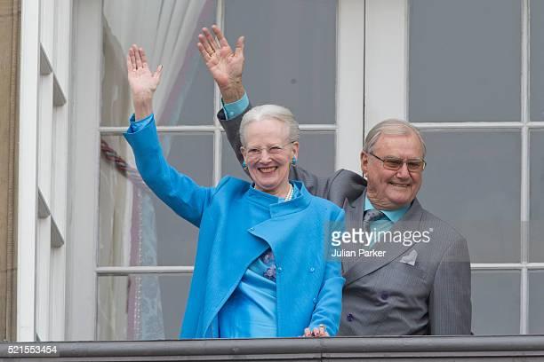 Queen Margrethe II of Denmark and Prince Henrik of Denmark attend Queen Margrethe's 76th Birthday Celebration at Amalienborg Palace on April 16 2016...