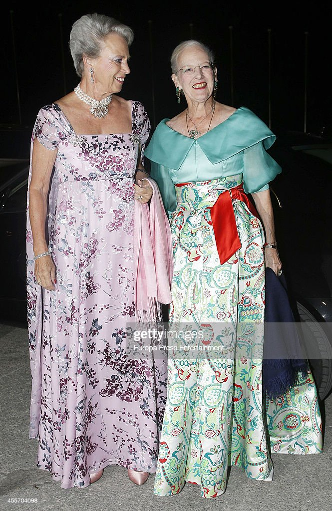 Queen Margrethe II of Denmark (R) and Princess Benedikte of Denmark attend private dinner to celebrate the Golden Wedding Anniversary of King Constantine II and Queen Anne Marie of Greece Yacht Club on September 18, 2014 in Athens, Greece.
