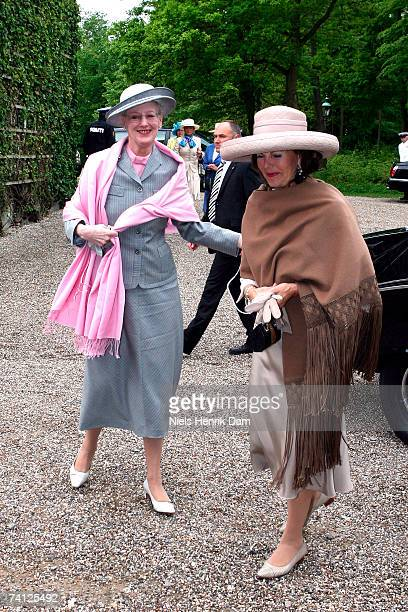 Queen Margrethe II of Denmark and Queen Silvia of Sweden arrive at The museum Ordrupgaard in Charlottenlund on May 11 2007 in Copenhagen Denmark King...