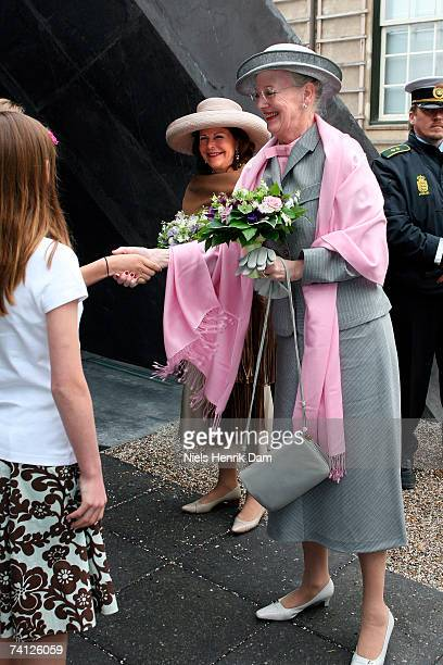 Queen Margrethe II of Denmark and Queen Silvia of Sweden arrive arrives at the Ordrupgaard Museum in Charlottenlund on May 11 2007 near Copenhagen...