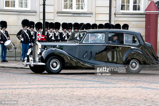 Queen Margrethe II of Denmark arrives at Amalienborg as the first car behind the hearse with the coffin of deceased Prince Henrik of Denmark on...