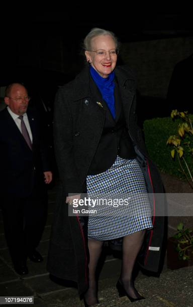 Queen Margrethe II of Denmark arrives at the at Danish Embassy to host a reception for the Princess of Wales Royal Regiment on November 29 2010 in...