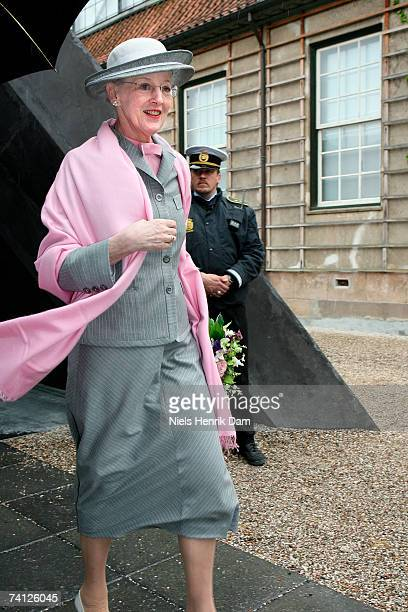 Queen Margrethe II of Denmark arrives at the Ordrupgaard Museum in Charlottenlund on May 11 2007 near Copenhagen Sweden King Carl XVI Gustaf of...
