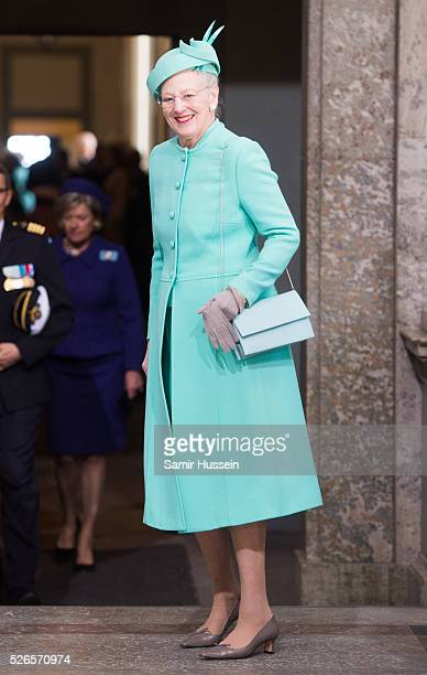 Queen Margrethe II of Denmark arrives at the Royal Palace to attend Te Deum Thanksgiving Service to celebrate the 70th birthday of King Carl Gustaf...