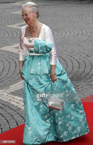 Queen Margrethe II of Denmark arrives for a gala performance at the Stockholm Concert Hall in Stockholm on June 18 2010 Sweden's Crown Princess...