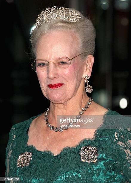 Queen Margrethe II of Denmark arrives for a Gala Performance at the DR Concert Hall to celebrate 40 years on the throne at City Hall on January 14,...