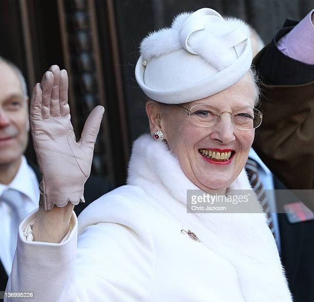Queen Margrethe II of Denmark arrives for the official reception to celebrate 40 years on the throne at City Hall on January 14, 2012 in Copenhagen,...