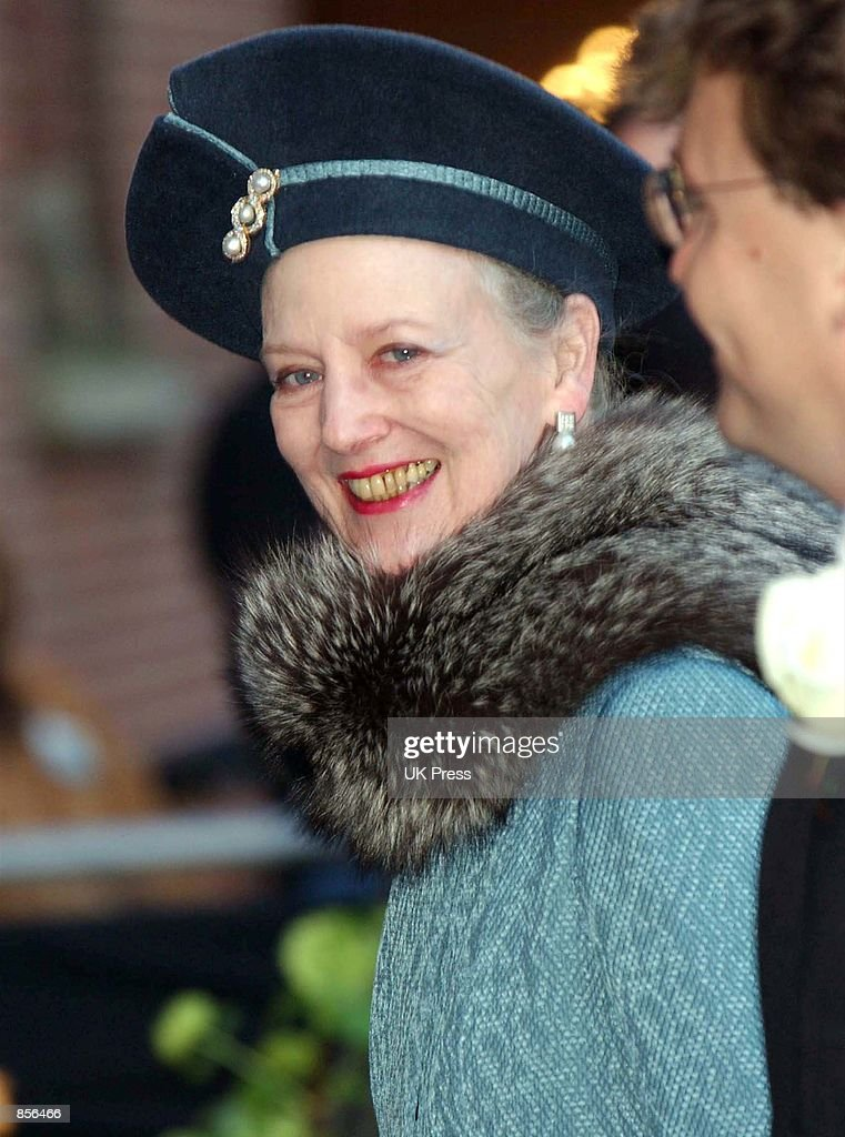 Queen Margrethe II of Denmark arrives for the wedding of Dutch Crown Prince Willem Alexander and Crown Princess Maxima Zorreguieta February 2, 2002 in Amsterdam, Holland.