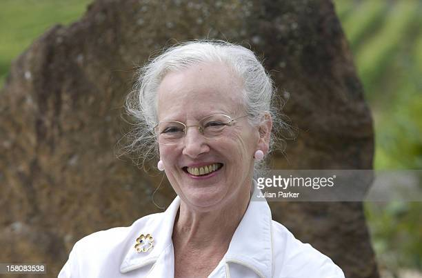 Queen Margrethe Ii Of Denmark Attend A Photocall At Chateau De Caix In Luzech Near Cahors France