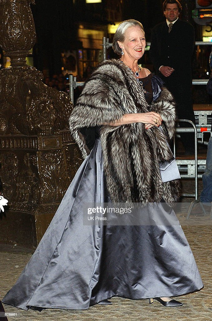 Queen Margrethe II of Denmark attends a dinner and party at the Royal Palace in honor of the wedding of Dutch Crown Prince Willem-Alexander and Maxima Zorreguieta January 31, 2002 in Amsterdam, The Netherlands.