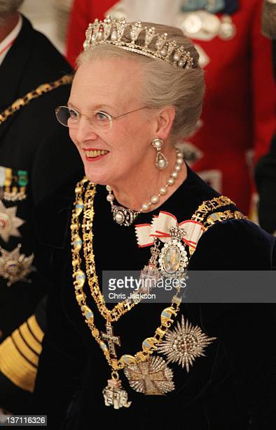 Queen Margrethe II of Denmark attends a Gala Dinner to celebrate her 40 years on the throne at Christiansborg Palace Chapel on January 15 2012 in...