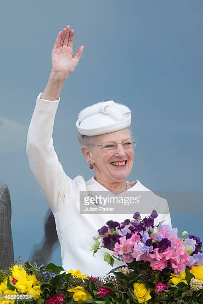 Queen Margrethe II of Denmark attends a lunch reception to mark the forthcoming 75th Birthday of the Danish Queen at Aarhus City Hall on April 8 2015...