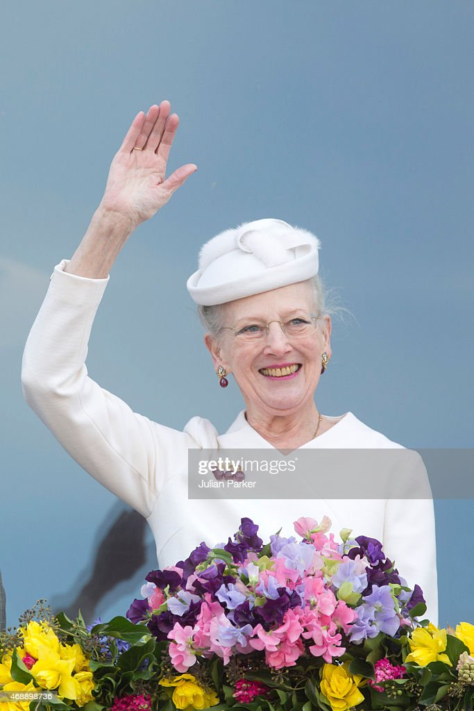 Queen Margrethe II of Denmark attends a lunch reception to mark the forthcoming 75th Birthday of the Danish Queen at Aarhus City Hall on April 8, 2015 in Aarhus, Denmark.