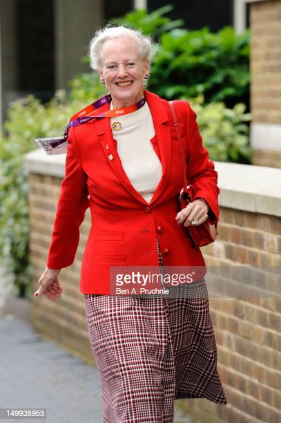 Queen Margrethe II of Denmark attends a reception for the Danish Olympic Team on the Danish Royal Yacht Danne Borg at on August 7, 2012 in London,...