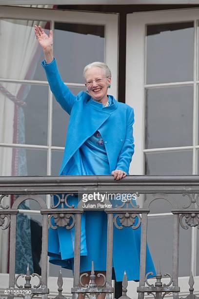 Queen Margrethe II of Denmark attends her 76th Birthday Celebration at Amalienborg Palace on April 16 2016 in Copenhagen Denmark
