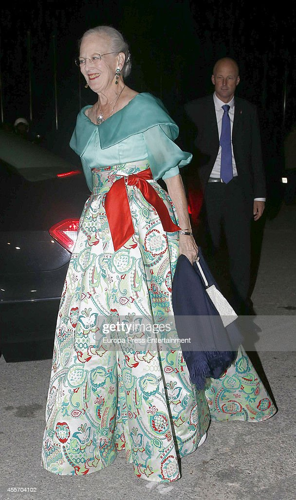 Queen Margrethe II of Denmark attends private dinner to celebrate the Golden Wedding Anniversary of King Constantine II and Queen Anne Marie of Greece at Yacht Club on September 18, 2014 in Athens, Greece.
