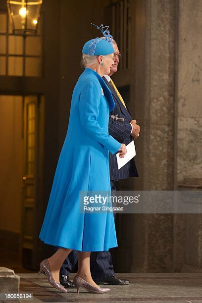 Queen Margrethe II of Denmark attends Te Deum Thanksgiving Service To Celebrate King Carl Gustaf's 40th Jubilee at The Royal Palace on September 15,...