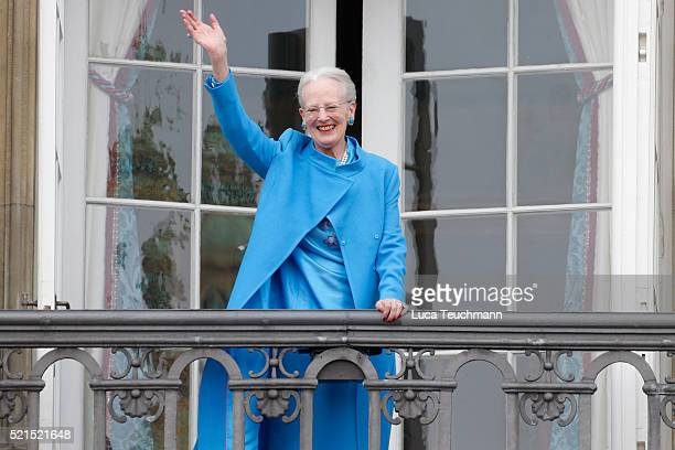 Queen Margrethe II of Denmark attends the celebrations of her Majesty's 76th birthday at Amalienborg Royal Palace on April 16, 2016 in Copenhagen,...