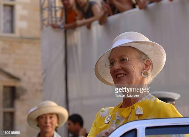 Queen Margrethe II of Denmark attends the Danes Worldwide celebration at the Kronburg Castle on July 27 2008 in Kronborg Denmark
