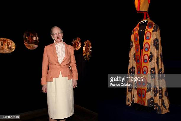 Queen Margrethe II of Denmark attends the opening of her own exhibition 'Wild Swans' at the Museo Nazionale Romano of Palazzo Massimo alle Terme on...
