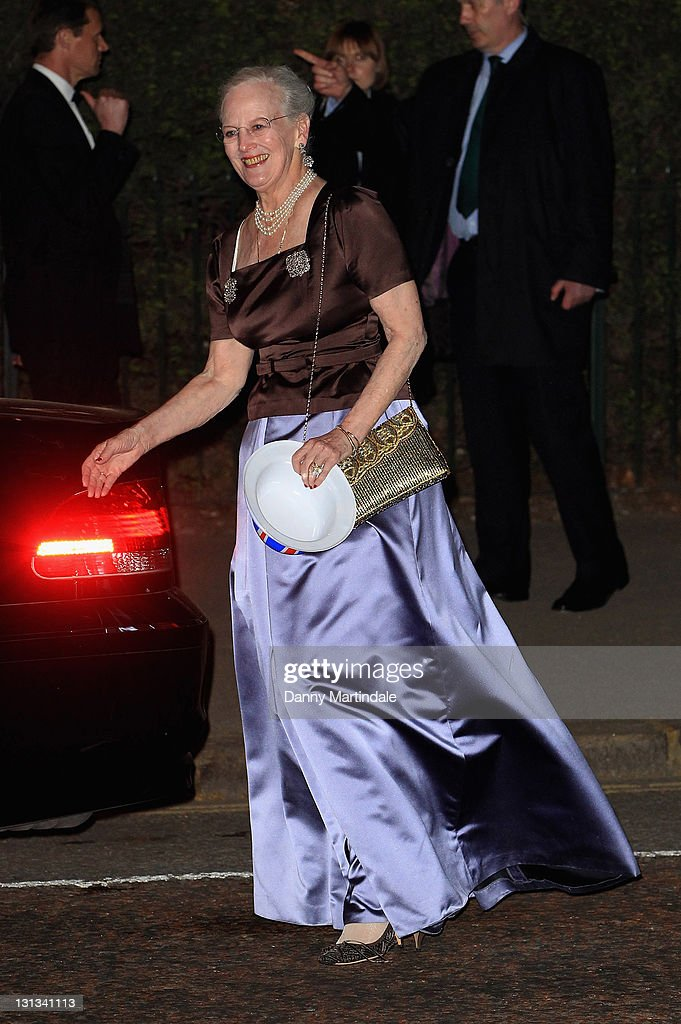 Queen Margrethe II of Denmark attends the pre-Royal Wedding dinner at Mandarin Oriental Hyde Park on April 28, 2011 in London, England.
