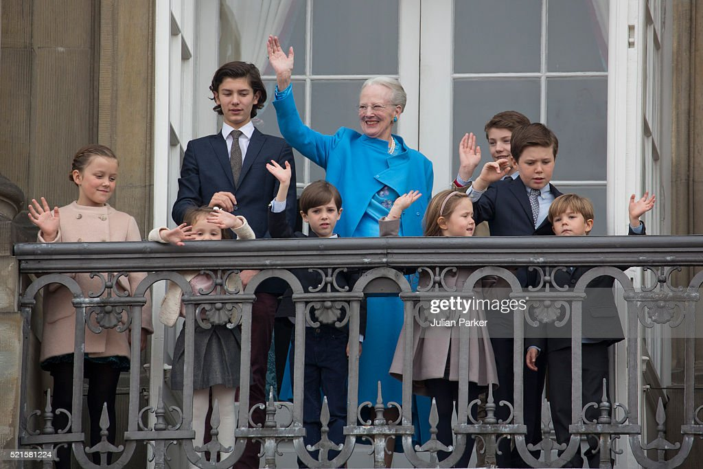 Queen Margrethe II of Denmark celebrates her 76th Birthday with her grandchildren, ( l to r ) Princess Isabella,Prince Nikolai, Princess Athena, Prince Henrik, Princess Josephine,Prince Felix,Prince Christian and Prince Vincent, at Amalienborg Palace, on April 16, 2016, in Copenhagen, Denmark
