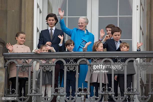 Queen Margrethe II of Denmark celebrates her 76th Birthday with her grandchildren Princess IsabellaPrince Nikolai Princess Athena Prince Henrik...