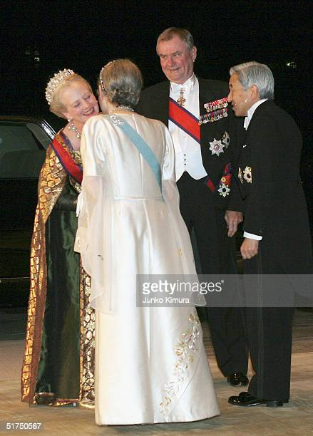 Queen Margrethe II of Denmark Empress Michiko Prince Consort Henrik of Denmark and Emperor Akihito upon their arrival at the Imperial Palace for a...