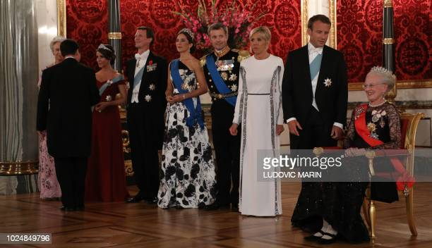 Queen Margrethe II of Denmark French President Emmanuel Macron and his wife Brigitte Prince Joachim and Princess Marie of Denmark and Princess...