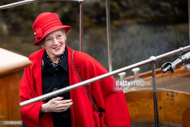 Queen Margrethe II of Denmark officially goes aboard the Royal Yacht Dannebrog in the Port of Copenhagen, on May 4, 2021. - This year's royal trip by...
