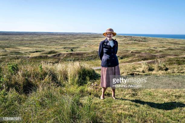 Queen Margrethe II of Denmark poses at a viewpoint over National Park Thy in Hanstholm during her summer voyage on August 30, 2021. - - Denmark OUT /...