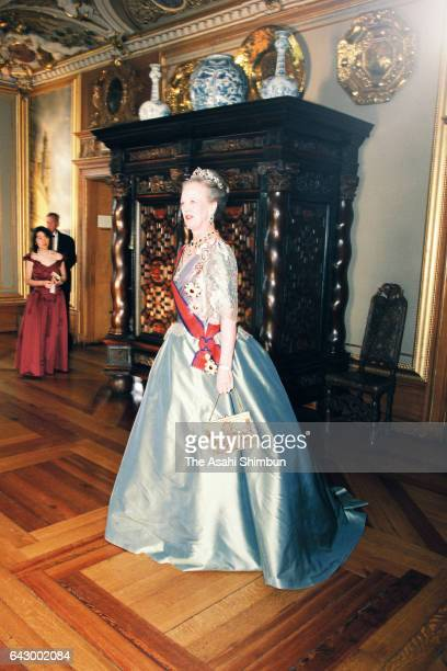 Queen Margrethe II of Denmark poses for photographs prior to the return dinner hosted by Japanese emperor and empress at Frederiksborg Castle on June...