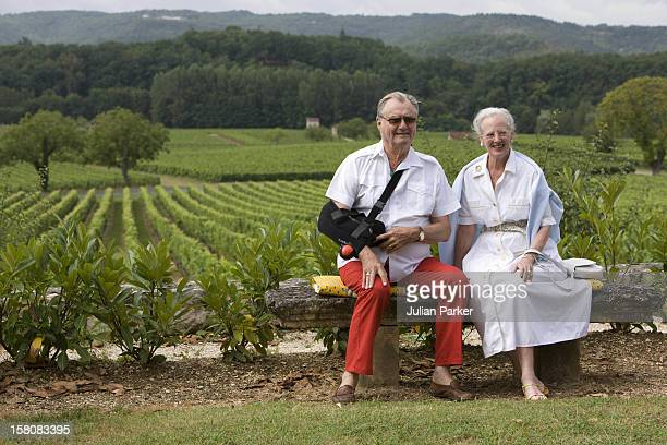Queen Margrethe Ii Of Denmark Prince Henrik Attend A Photocall At Chateau De Caix In Luzech Near Cahors France